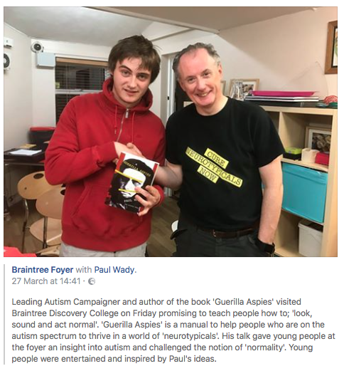 Giving a nice young man my book in the Braintree Foyer Essex, where I rediscovered the show yet again with a new generation.